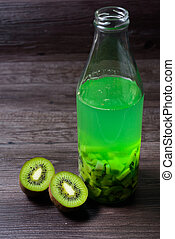 bottle liquor with a natural juice of kiwi fruit