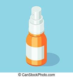 bottle., médico, rociar