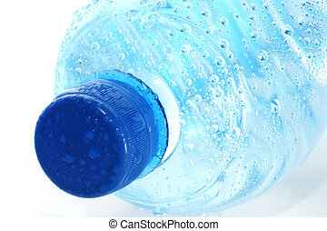 bottle mineral water with water drops