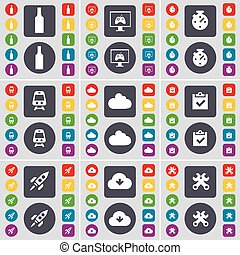 Bottle, Monitor, Stopwatch, Train, Cloud, Survey, Rocket, Cloud, Wrench icon symbol. A large set of flat, colored buttons for your design. Vector