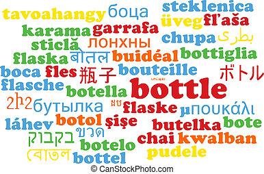 Bottle multilanguage wordcloud background concept