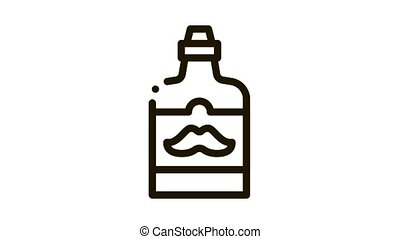Bottle Mustache On Label Icon Animation. black Bottle Mustache On Label animated icon on white background
