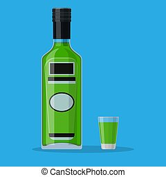 Bottle of absinthe with shot glass. Absinthe alcohol drink. ...