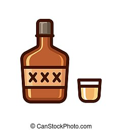 Bottle of alcohol and shot glass