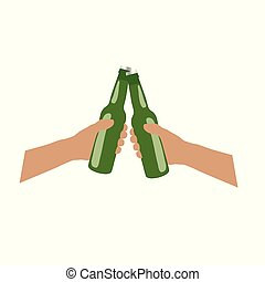 bottle of bear in hands cheers illustration