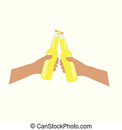 bottle of bear yellow in hands illustration