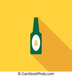 Bottle of beer icon, flat style