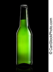 Bottle of beer or cider isolated on black background