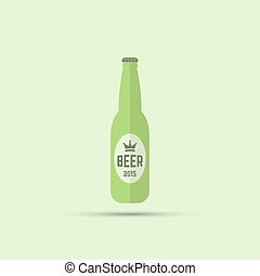 bottle of beer vector colored flat icon on green background