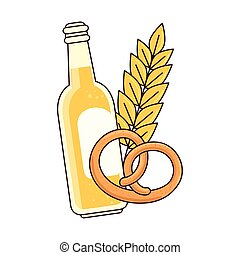bottle of beer with spike and pretzel on white background
