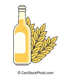 bottle of beer with spike on white background