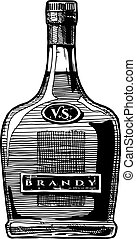 Vector hand drawn illustration of brandy bottle. Isolated on white background