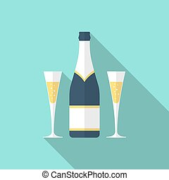 Bottle of champagne and glasses. Illustration in a flat design style