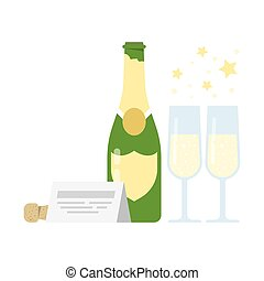Bottle of champagne and two glasses.