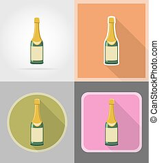 bottle of champagne flat icons vector illustration