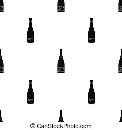 Bottle of champagne icon in black style isolated on white background. Wine production symbol stock vector illustration.