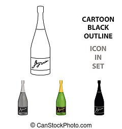 Bottle of champagne icon in cartoon style isolated on white background. Wine production symbol stock vector illustration.