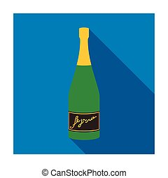Bottle of champagne icon in flat style isolated on white background. Wine production symbol stock vector illustration.