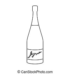 Bottle of champagne icon in outline style isolated on white background. Wine production symbol stock vector illustration.