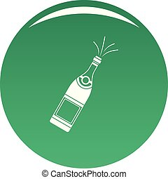 Bottle of champagne icon vector green