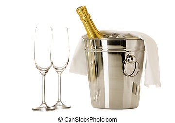 Bottle of Champagne in cooler with two glasses isolated on ...