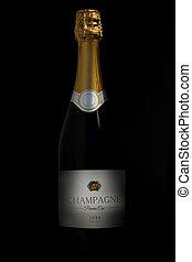 Bottle of champagne in the dark