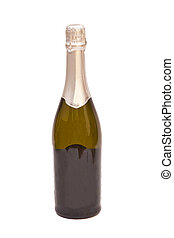 Bottle of champagne isolated on white background
