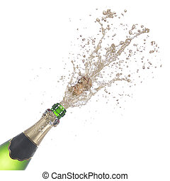 bottle of champagne popping its cork and splashing isolated...