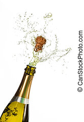 Bottle of champagne popping on white background
