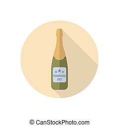 bottle of champagne vector colored round flat icon with long shadow
