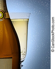 bottle of champagne with a glass closeup