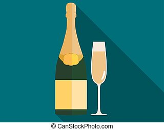 Bottle of champagne with a glass in a flat style. Vector illustration.