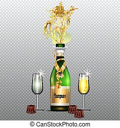 Bottle of champagne with glasses flat poster on transparent background