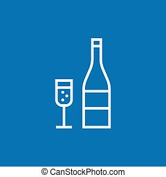 Bottle of champaign and glass line icon. - Bottle of ...