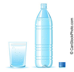 Bottle of clean water and glass with splashing isolated on white background  for design