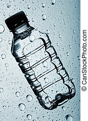 bottle of clear purified water against abstract backgrounds