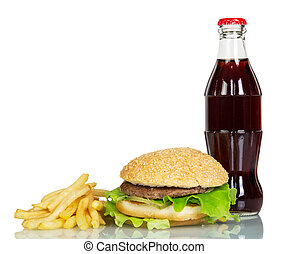 Bottle of cola with hamburger and french fries isolated on white