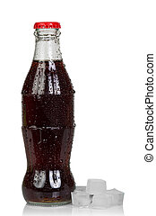 Bottle of cola with ice cubes