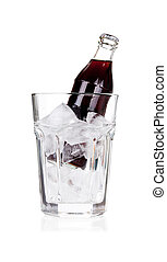 Bottle of cold beverage with ice