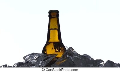 Bottle of dark cold beer in the ice. White background....