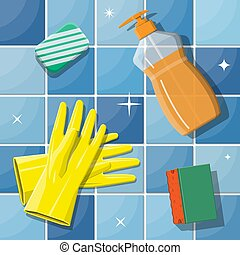 Bottle of detergent sponge soap and rubber gloves - Bottle...