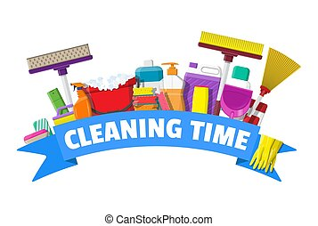 Bottle of detergent, sponge, soap and rubber gloves. Bucket, MOP, broom, dustpan. Accessories for washing and house cleaning. Vector illustration in flat style