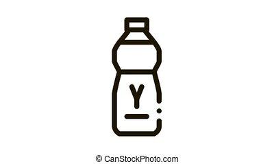 bottle of drinking yogurt Icon Animation. black bottle of drinking yogurt animated icon on white background