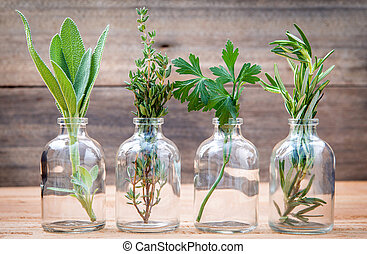 Bottle of essential oil with herbs rosemary, sage, parsley and thyme set up on old wooden background .