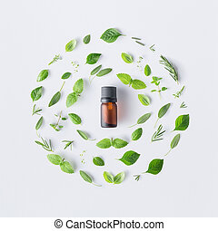 Bottle of essential oil with round shape of fresh herbs and...