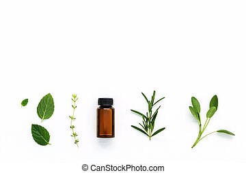 Bottle of essential oil with