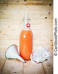 Bottle of fresh fruit juice blend