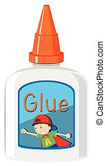 Bottle of glue with orange cap illustration