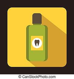 Bottle of green mouthwash icon, flat style