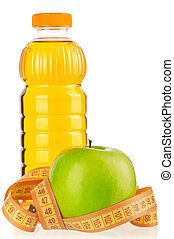 Bottle of juice - Apple juice in plastic bottle with a...